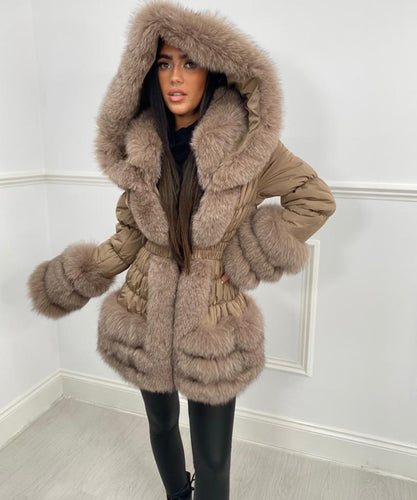 Three Row Fur Trim Hooded Coat - Tan