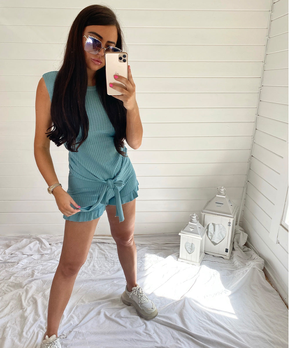 Turquoise Ribbed Tie Up Peplum Short Set