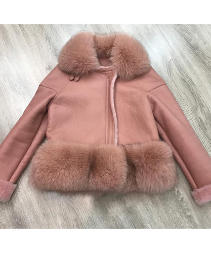 Pink Leather Fur Trim Jacket