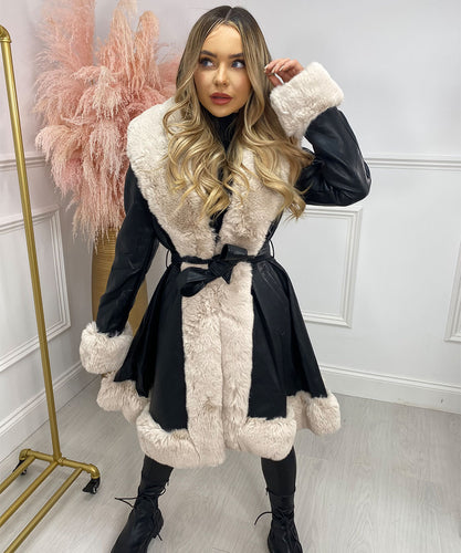Black With Beige Long Faux Fur Belted Coat