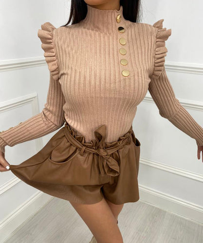 Tan Ribbed Button Frill Top