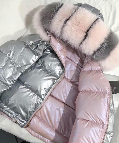 Pink Oversized Reversible Bomber Jacket