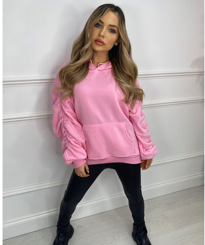 Hoodie Ruched Jumper In Bubblegum Pink