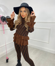 Ruffle Lounge Wear Set In Brown