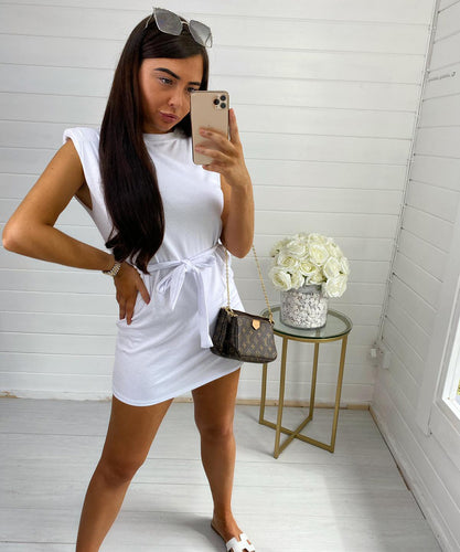 White Shoulder Padded Dress