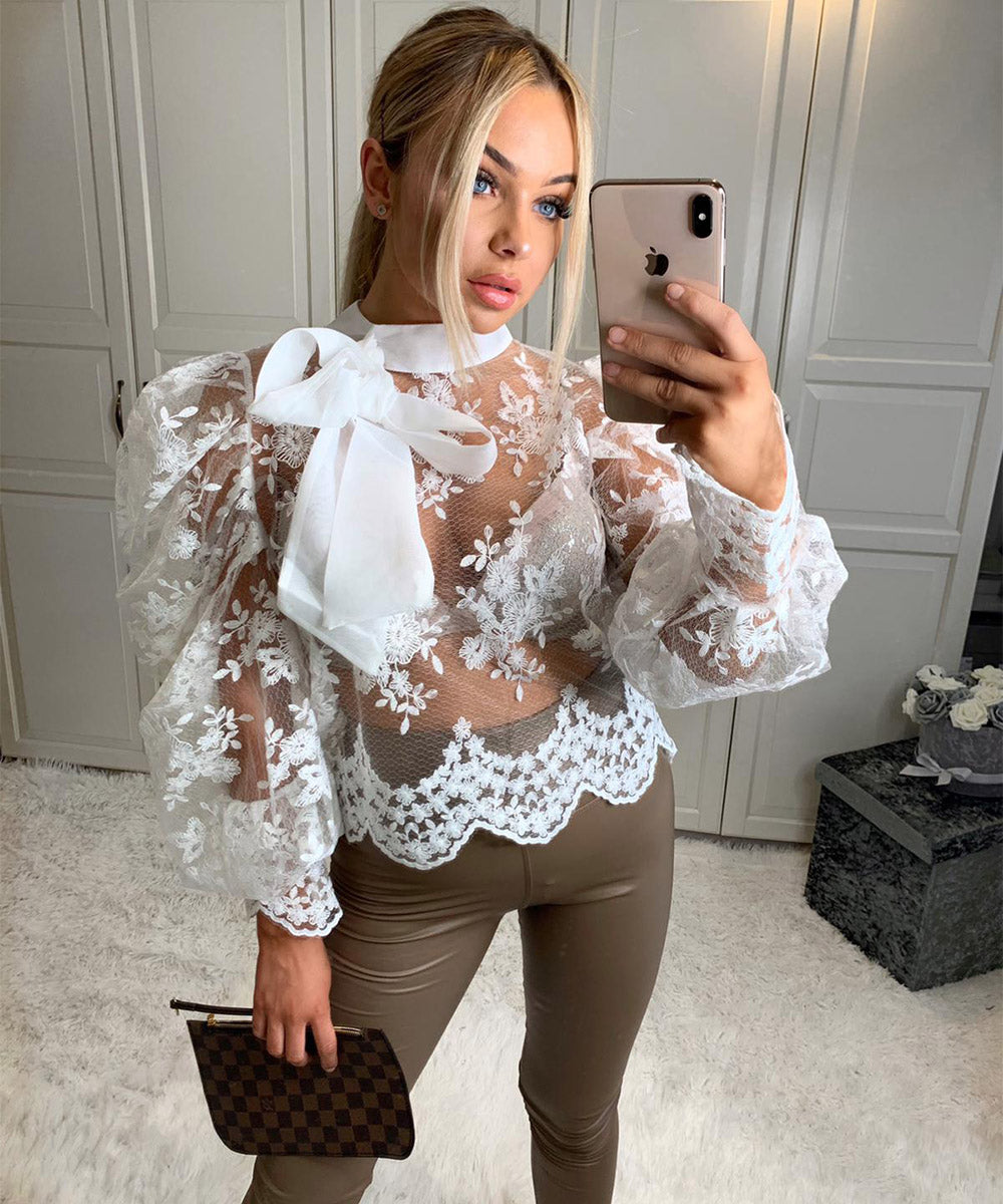 Crochet Tie Up Blouse
