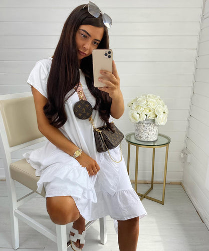 White Oversized Frill Dress