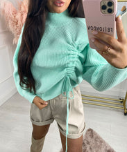 Side Ruched Knit Jumper In Mint