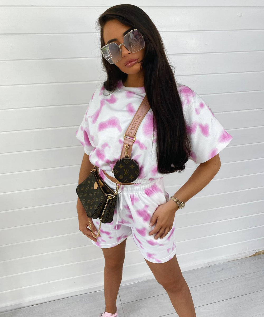 Pink Short Sleeve Tie Dye Short Set