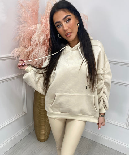 High Quality Thick Knit Hoody In Cream