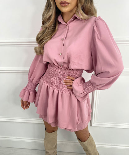 Button Skirt Set In Pink