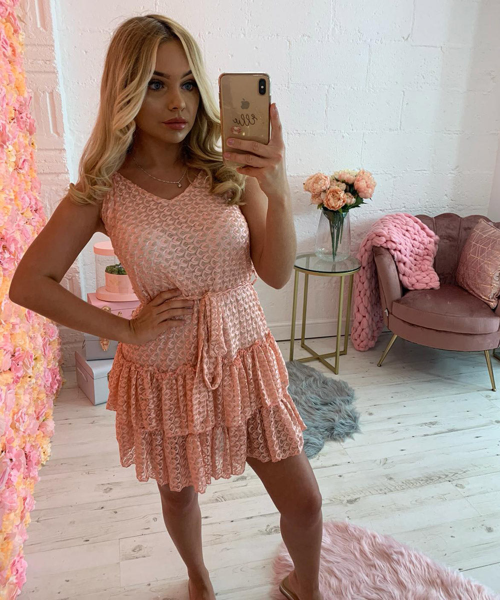 Pink Tie Up Frill Dress