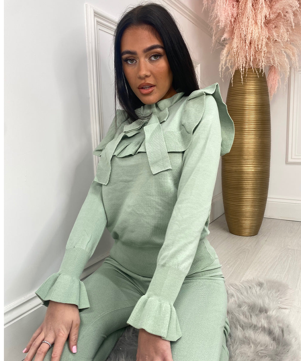 Frill Bow Lounge Set In Mint