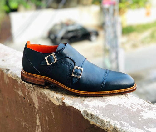 leather404 Clothing, Shoes & Accessories:Men's Shoes:Dress Shoes Navy Blue Cap Toe Double Monk Shoes