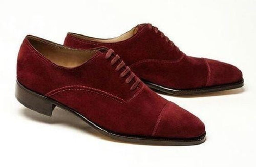 leather404 Clothing, Shoes & Accessories:Men's Shoes:Dress Shoes usa-7 Men's Suede Lace Up Stylish Shoes, Maroon Cap To Shoes