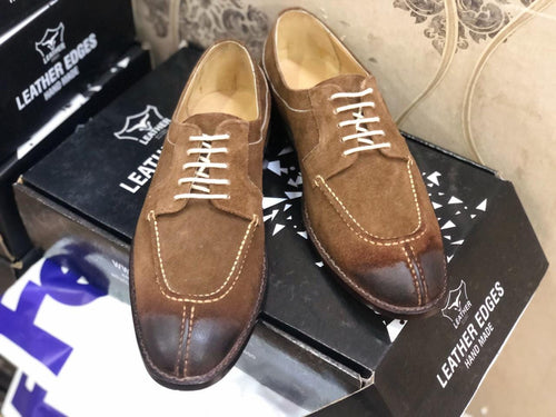 leather404 Clothing, Shoes & Accessories:Men's Shoes:Dress Shoes Handmade Brown Suede Split Toe Shoes For Men's