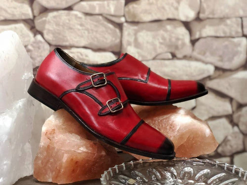 leather404 Clothing, Shoes & Accessories:Men's Shoes:Dress Shoes Men'n Burgundy Double Monk Shoes