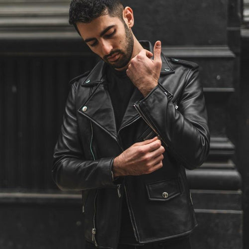 leather404 Clothing, Shoes & Accessories:Men's Clothing:Coats & Jackets Classic Men's Vintage Distressed Biker Leather Black Jacket