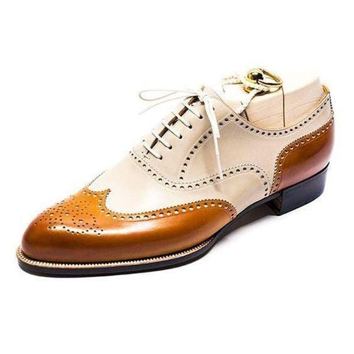 leather404 Clothing, Shoes & Accessories:Men's Shoes:Dress Shoes usa-7 Men's Tan Beige two tone Wing Tip Brogue Lether Shoes