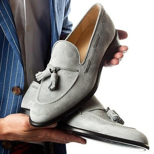 leather404 Clothing, Shoes & Accessories:Men's Shoes:Dress Shoes Handmade Gray Suede Tussle Slip Os Shoes