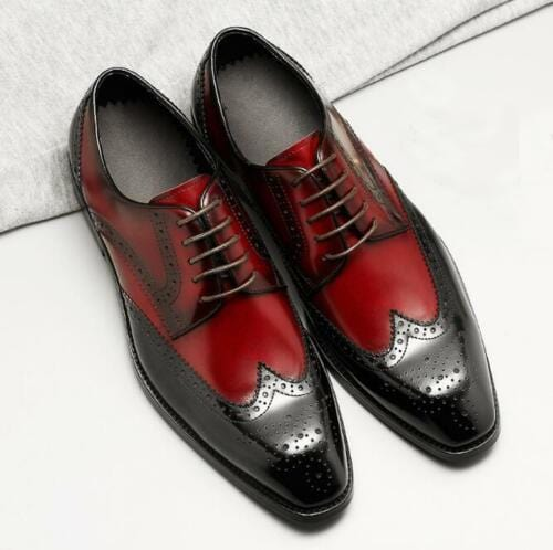 leather404 Clothing, Shoes & Accessories:Men's Shoes:Dress Shoes Handmade Oxblood Wing Tip Leather Men's Shoes
