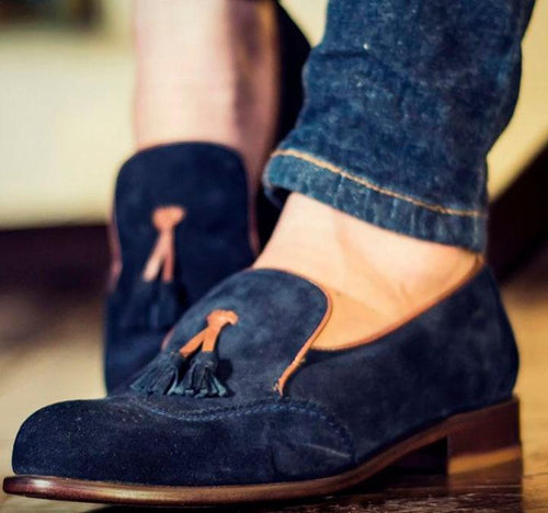leather404 Clothing, Shoes & Accessories:Men's Shoes:Dress Shoes Handmade Blue Suede Tussle Slip Os Shoes