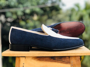leather404 Clothing, Shoes & Accessories:Men's Shoes:Dress Shoes Handmade White & Blue Cotroy Leather Tussles Loafers For Men's