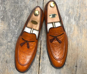leather404 Clothing, Shoes & Accessories:Men's Shoes:Dress Shoes Men's Ostrich Tan tussle Leather Loafers
