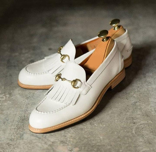 White moccasin shoes, Dress formal Shoes, Leather Handmade shoes for mens