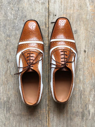 leather404 Clothing, Shoes & Accessories:Men's Shoes:Dress Shoes usa-7 Men's White Brown Cap Toe Brogue Leather Shoes