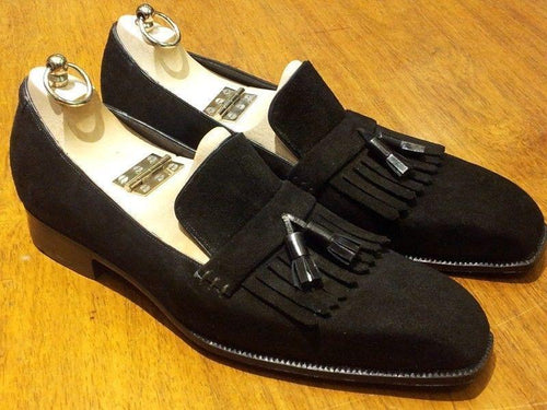 leather404 Clothing, Shoes & Accessories:Men's Shoes:Dress Shoes Handmade Black Suede Fringe Tussle Slip Os Shoes