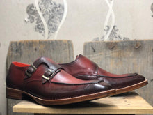 leather404 Clothing, Shoes & Accessories:Men's Shoes:Boots Burgundy Double Monk Straps Ankle Leather Boots For Men's