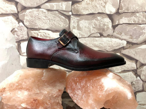 leather404 Clothing, Shoes & Accessories:Men's Shoes:Dress Shoes Burgundy Two Tone monk shoes