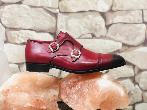 Men's burgundy leather shoes