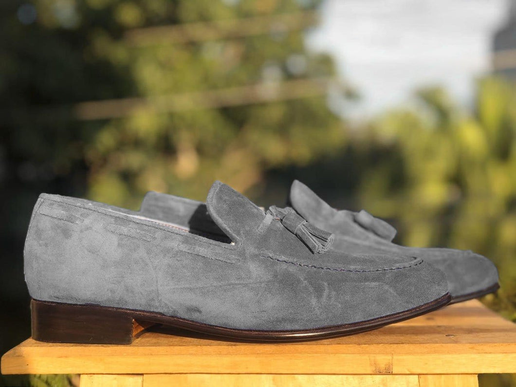 leather404 Clothing, Shoes & Accessories:Men's Shoes:Dress Shoes New Handmade Gray Suede Tussles Loafers For Men's
