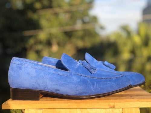 leather404 Clothing, Shoes & Accessories:Men's Shoes:Dress Shoes New Handmade Blue Suede Tussles Loafers For Men's