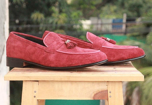 leather404 Clothing, Shoes & Accessories:Men's Shoes:Dress Shoes Burgundy Tussles Loafers Suede Shoes