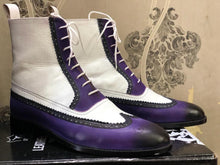 leather404 Clothing, Shoes & Accessories:Men's Shoes:Boots Ankle High Purple & White Wing Tip Leather Lace Up Men's Boot