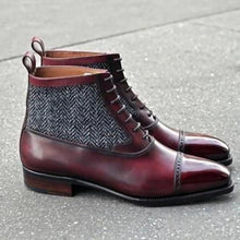 leather404 Clothing, Shoes & Accessories:Men's Shoes:Boots Handmade Ankle 2 Tone Leather Cap Toe Lace Up Men's Boot