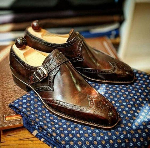 leather404 Clothing, Shoes & Accessories:Men's Shoes:Dress Shoes usa-7 Handmade Men's Leather Monk Strap Brown Wing Tip Brogue Stylish Shoes