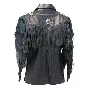 leather404 Clothing, Shoes & Accessories:Men's Clothing:Coats & Jackets Western Cowboy Leather Jacket, Fringe Black leather jacket, Shirt Collar Jacket