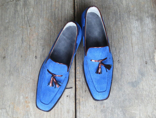 leather404 Clothing, Shoes & Accessories:Men's Shoes:Dress Shoes 8 Men's Handmade Suede Leather Blue Shoes Loafer Party Tussles Style Leather Sole