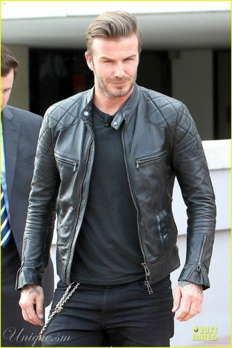 leather404 Clothing, Shoes & Accessories:Men's Clothing:Coats & Jackets S Men's Genuine Lambskin Leather Biker Jacket Inspired by David Beckham Black