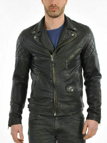 leather404 Clothing, Shoes & Accessories:Men's Clothing:Coats & Jackets S Men's Genuine Lambskin Leather Jacket Black Slim fit Biker Motorcycle jackets
