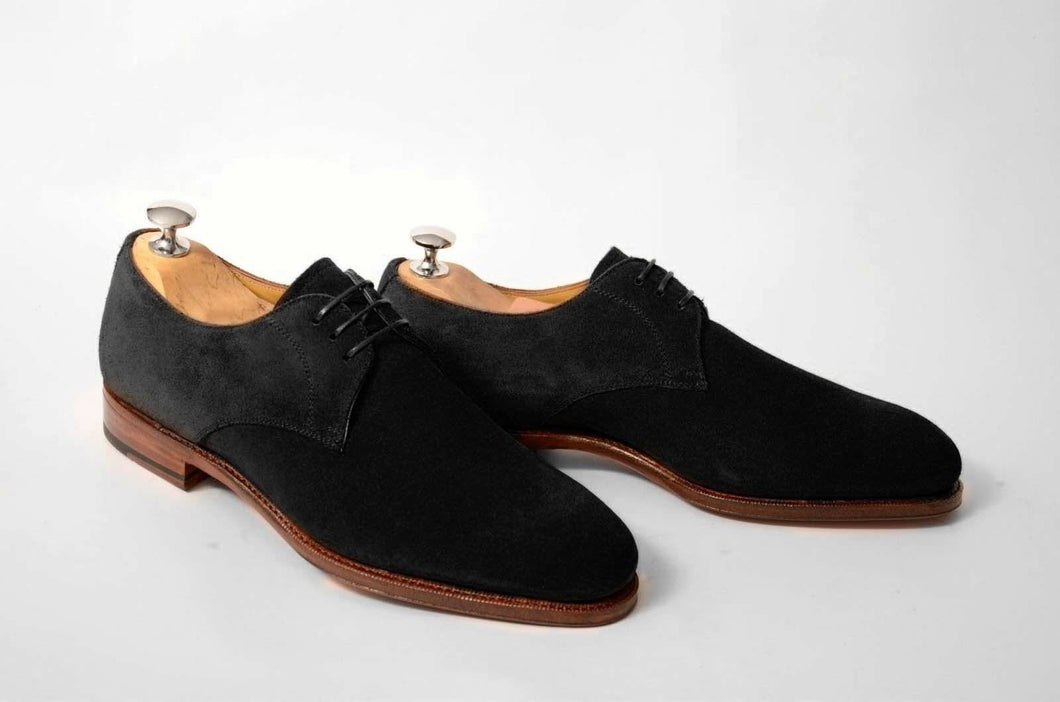 leather404 Clothing, Shoes & Accessories:Men's Shoes:Dress Shoes 8 Handmade Derby Suede Shoes, Leather Black Lace Up Formal Dress Leather Shoes