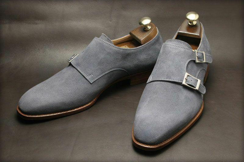 leather404 Clothing, Shoes & Accessories:Men's Shoes:Dress Shoes 8 Handmade Men Double Monk Gray Suede shoes