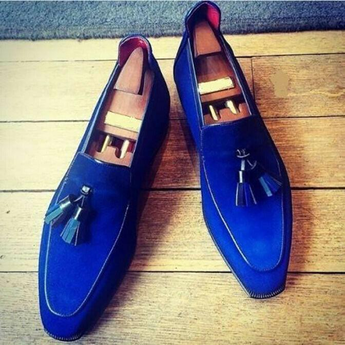 leather404 Clothing, Shoes & Accessories:Men's Shoes:Dress Shoes 8 Handmade Suede Leather Royal Blue Shoes Loafer Party Tussles Style Leather Sole