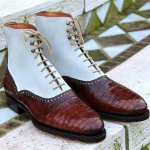 leather404 Clothing, Shoes & Accessories:Men's Shoes:Boots 8 Handmade Men Brown White Alligator Leather Suede Boots