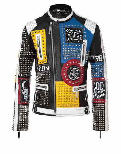 leather404 Clothing, Shoes & Accessories:Men's Clothing:Coats & Jackets S Men's Multi Color Studded Leather Rock Punk Patches Jacket Biker jacket