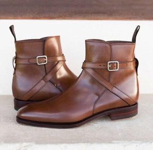 leather404 Clothing, Shoes & Accessories:Men's Shoes:Boots Handmade Brown jodhpurs Leather Buckle Stylish Dress Formal Boots